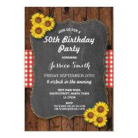 Sunflower Birthday Party Rustic Wood Chalk Invite