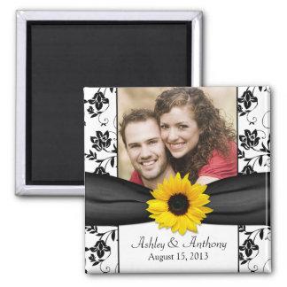 Sunflower Black and White Damask Wedding Magnet