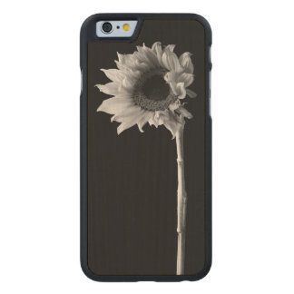 Sunflower - Black and White Photograph Carved Maple iPhone 6 Slim Case