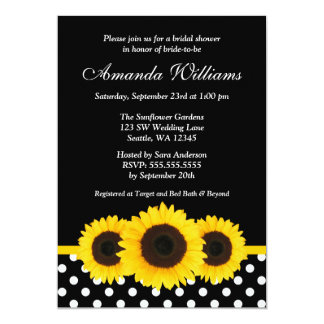Sunflower Black and White Polka Dot Bridal Shower Card