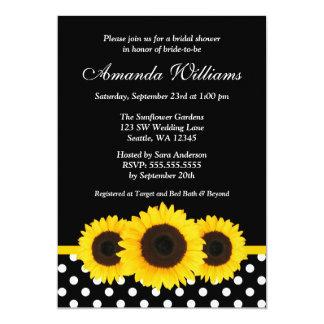 Sunflower Black and White Polka Dot Bridal Shower 5x7 Paper Invitation Card