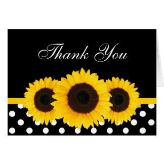 Sunflower Black and White Polka Dot Thank You Greeting Cards
