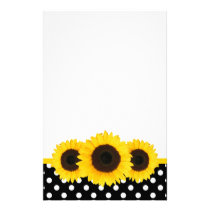 Sunflower Black and White Polka Dots Stationery