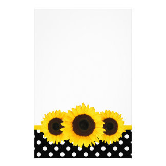 Sunflower Black and White Polka Dots Personalized Stationery