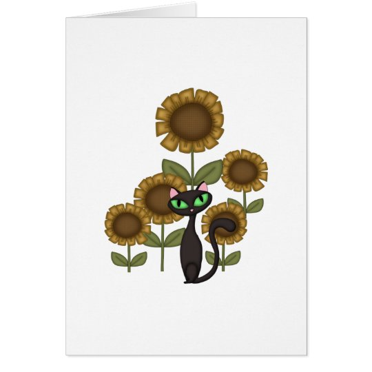 Sunflower Black Cat Card