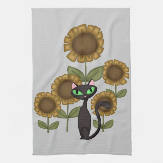 Sunflower Black Cat Hand Towels