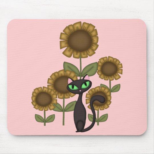 Sunflower Black Cat Mouse Pad