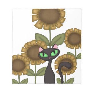 Sunflower Black Cat Note Pad