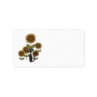 Sunflower Black Cat Personalized Address Label