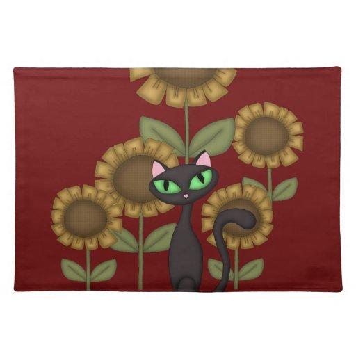 Sunflower Black Cat Placemat