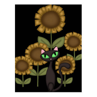 Sunflower Black Cat Post Cards