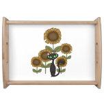 Sunflower Black Cat Serving Trays