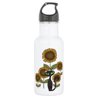 Sunflower Black Cat Stainless Steel Water Bottle