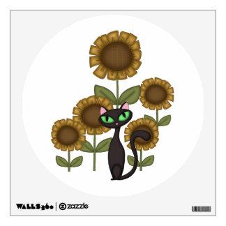 Sunflower Black Cat Room Sticker