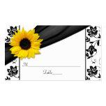 Sunflower Black Damask Floral Wedding Place Cards