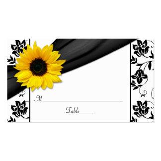 Sunflower Black Damask Floral Wedding Place Cards Business Card