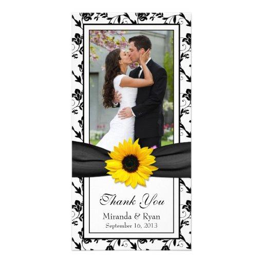 Sunflower Black Floral Ribbon Wedding Thank You Custom Photo Card