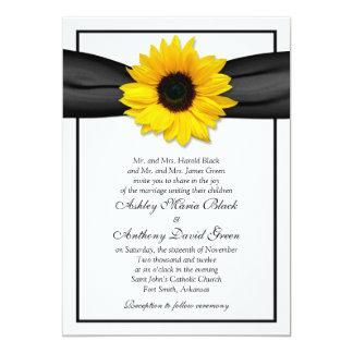 Sunflower Black Ribbon Wedding Invitation