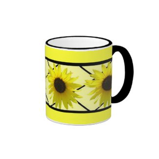 Sunflower Black Triming Ringer Coffee Mug