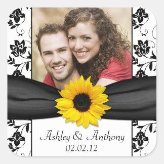 Sunflower Black White Damask Photo Wedding Square Sticker