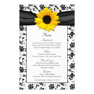 Sunflower Black White Damask Wedding Menu Card