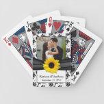 Sunflower Black White Damask Wedding Playing Cards