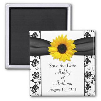 Sunflower Black White Damask Wedding Save the Date Magnet