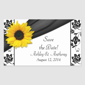 Sunflower Black White Damask Wedding Stickers