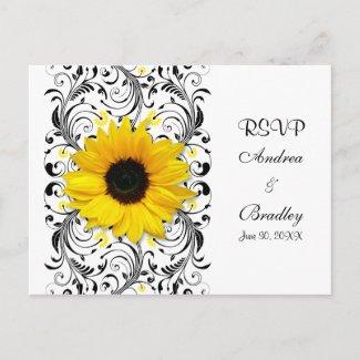 Sunflower Black & White Floral RSVP Postcard postcard