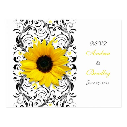 Sunflower Black & White Floral RSVP Postcard