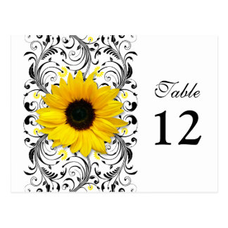 Sunflower Black & White Floral Table Number Card