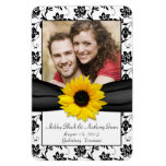 Sunflower Black White Floral Wedding Photo Magnet Magnets
