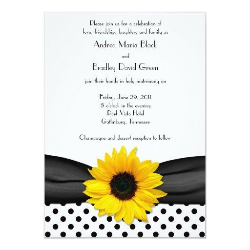 Sunflower Black White Polka Dot Ribbon Wedding 5x7 Paper Invitation Card