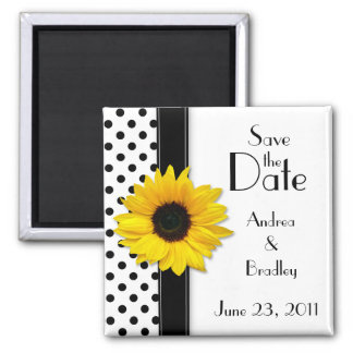Sunflower Black White Polka Dot Save the Date 2 Inch Square Magnet