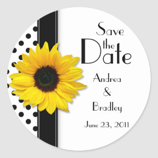Sunflower Black White Polka Dot Save the Date Classic Round Sticker