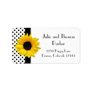 Sunflower Black White Polka Dot Wedding Address Label