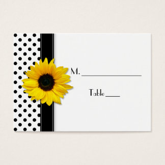 Sunflower Black White Polka Dot Wedding Place Card
