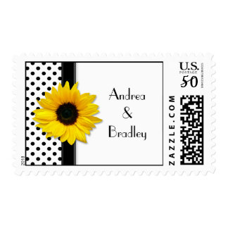 Sunflower Black White Polka Dot Wedding Postage
