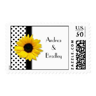 Sunflower Black White Polka Dot Wedding Postage