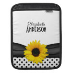 Sunflower Black White Polka Dots Sleeves For iPads