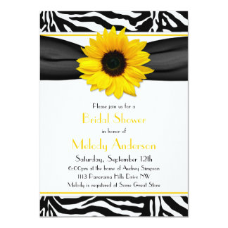 Sunflower Black White Zebra Print Bridal Shower Announcements