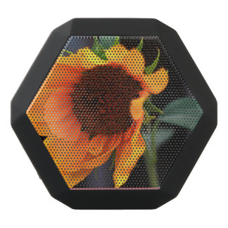 Sunflower bloom black bluetooth speaker