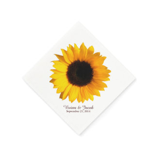 Sunflower Bloom Custom Wedding Napkins