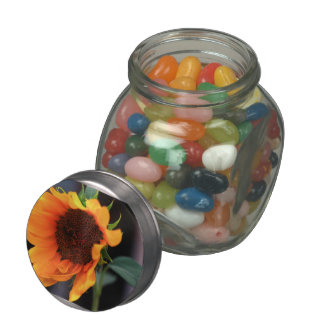 Sunflower bloom jelly belly candy jar