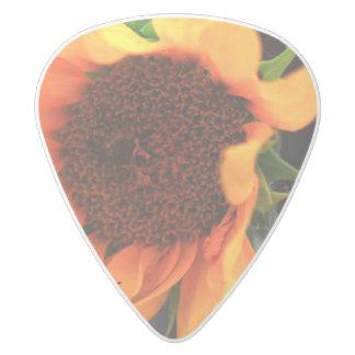 Sunflower bloom white delrin guitar pick