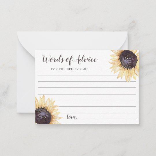 Sunflower Blooms Wedding Advice Cards