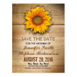 Sunflower blossom & barn wood save the date postcard