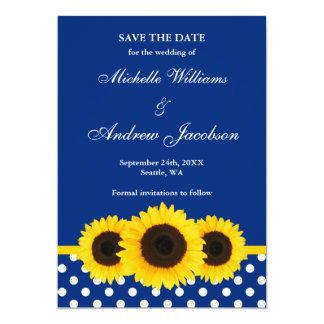 Sunflower Blue and White Polka Dot Save the Date 5x7 Paper Invitation Card