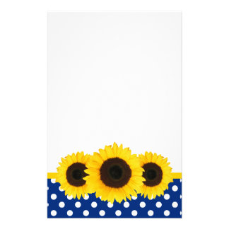 Sunflower Blue and White Polka Dots Stationery