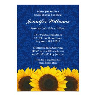 Sunflower Blue Damask Bridal Shower 5x7 Paper Invitation Card